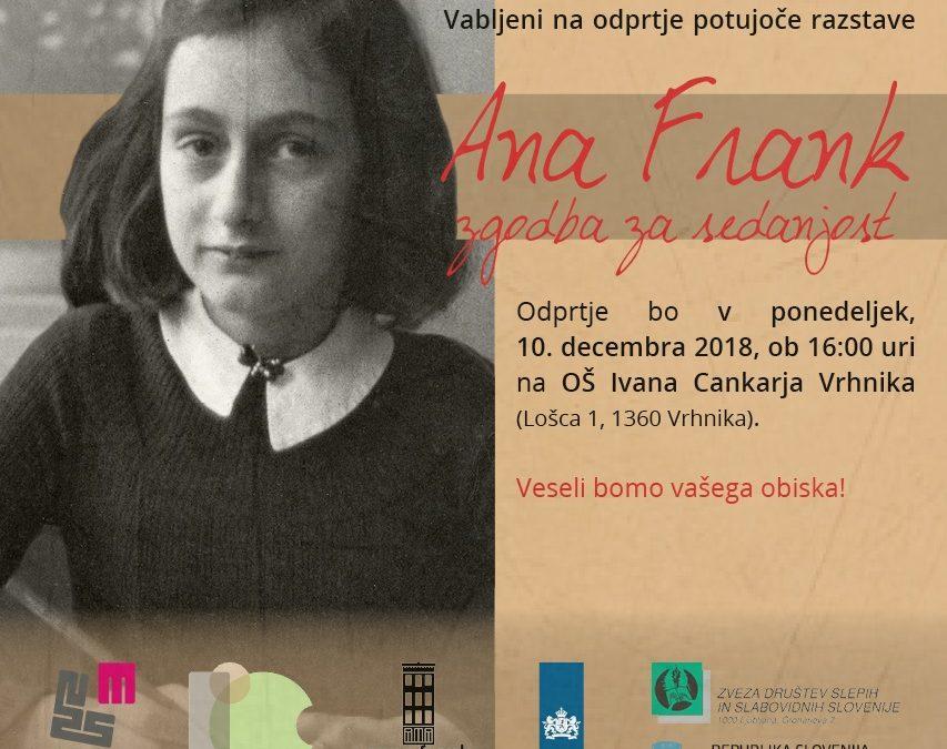 Vabilo na razstavo: Ana Frank – zgodba za sedanjost